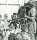 In 1974 senior student Cheryl Dean bought here horse Rama to kindy - to the delight of the children that day.